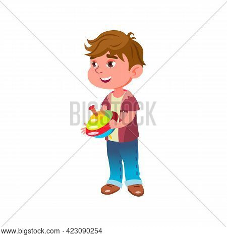 Cute Little Boy Play With Humming Top In Children Room Cartoon Vector. Cute Little Boy Play With Hum
