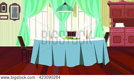 Cozy Dining Room With Table Vector Illustration. Served Table With Blue Cloth And Hanging Lamp Above