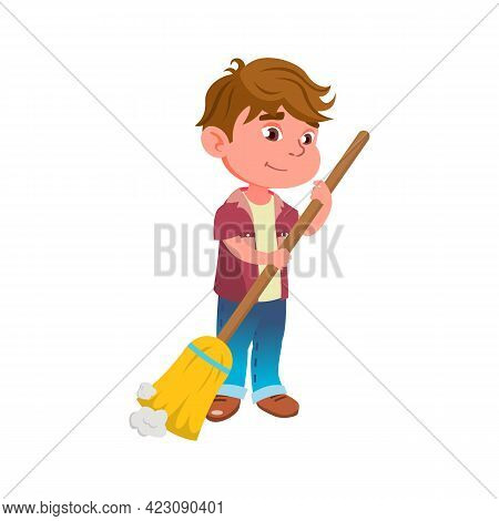 Small Boy Sweeping Floor From Dust Cartoon Vector. Small Boy Sweeping Floor From Dust Character. Iso