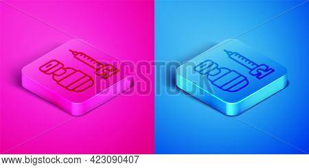 Isometric Line Medical Syringe With Needle Icon Isolated On Pink And Blue Background. Vaccination, I