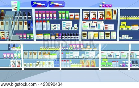 Display With Hair Products Vector Illustration. Aisle, Store, Shelf, Shampoo. Retail Concept. Can Be