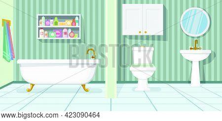 Fashionable Bathroom Vector Illustration. Modern Bathtub, Toilet And Sink In Bathroom With Stripped