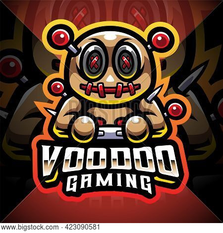 Voodoo Gaming Esport Mascot Logo With Text