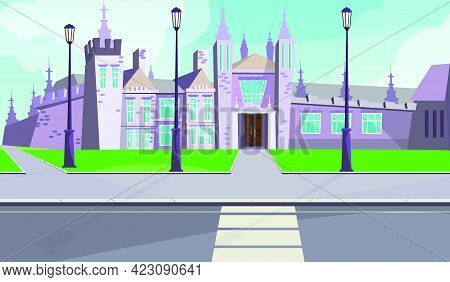Gothic Mansion On City Street Vector Illustration. Old Gray Stone Building With Tall Towers Near Roa