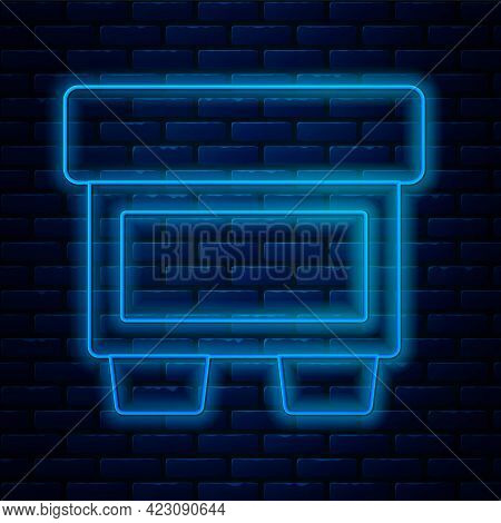Glowing Neon Line Fuse Of Electrical Protection Component Icon Isolated On Brick Wall Background. Me