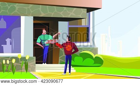 Happy Man Receiving Pizza From Delivery Guy Vector Illustration. Young Man Ordering Food And Giving