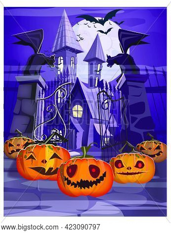 Haunted House With Gate And Pumpkins Vector Illustration. Purple Halloween Night Background. Holiday