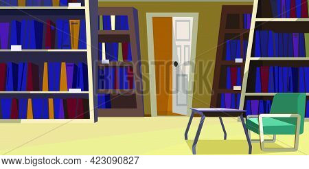 Home Library With Bookcases Vector Illustration. Modern Room With Comfortable Chair And Glassy Table