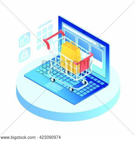 Isometric Laptop With Shopping Cart On Keypad. Open Portable Computer With Internet Browser Interfac