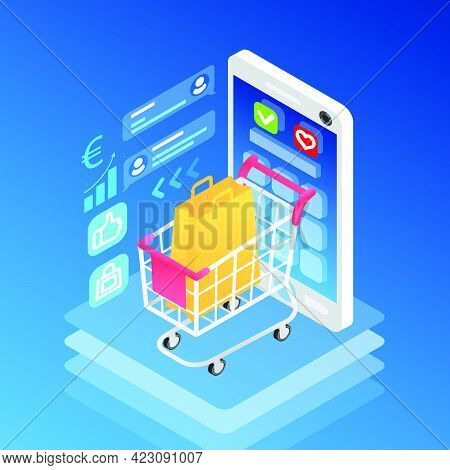 Isometric Smartphone And Shopping Cart With Bag. Gadget With Interface On Screen And Basic Informati