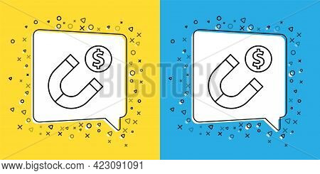 Set Line Magnet With Money Icon Isolated On Yellow And Blue Background. Concept Of Attracting Invest