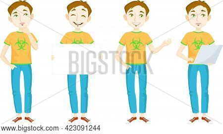 Male Genius In T-shirt With Bio Hazard Sign Character Set With Different Poses, Emotions, Gestures.