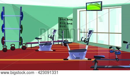 Modern Health Club With Spinning Equipment Vector Illustration. Gym With Fitness Equipment And Weigh