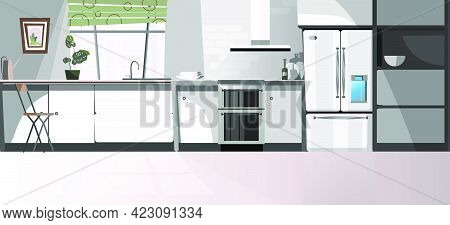 Modern Kitchen Room With Appliances Vector Illustration. Gray Domestic Kitchen Area With Counter, Fr