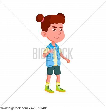 Grumpy Girl Scout Looking At Her Tent Cartoon Vector. Grumpy Girl Scout Looking At Her Tent Characte