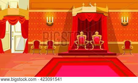 Red Royal Thrones In Palace Vector Illustration. Candlesticks On Wall, Red Curtain Hanging From Big