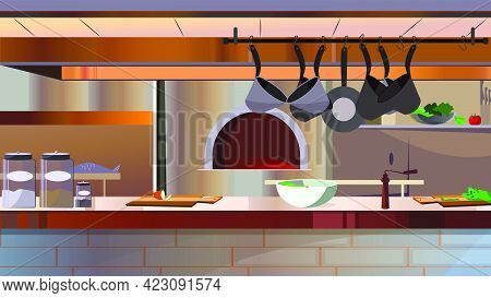 Restaurant Kitchen With Oven And Counter Vector Illustration. Modern Workspace With Hanging Cooking