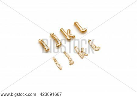 Inflated, Deflated Gold I J K L Letters, Balloon Font, 3d Rendering. Ballon Alphabet For Wedding Or
