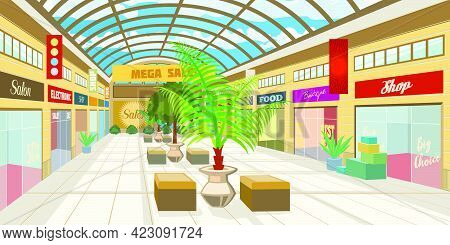 Shopping Mall Corridor With Panoramic Roof. Modern Boutiques In Mall With Plants And Benches. Shoppi