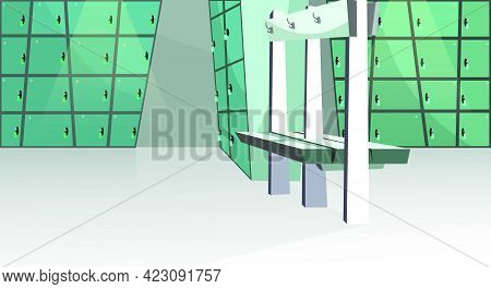 Sports Locker Room Vector Illustration. Small Blue Lockers And Bench In Health Club. Changing Room I