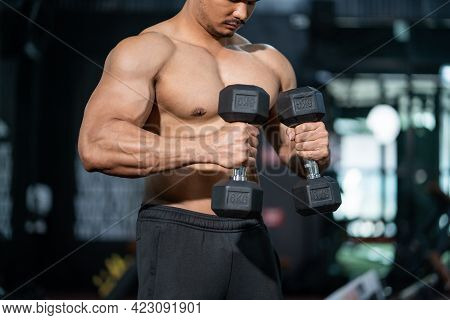 Handsome Adult Caucasian Men Sweating While Lift Up The Dumbbell Workout For Arm Biceps Muscle Part