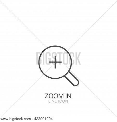 Zoom In Outline Simple Vector Icon. Editable Stroke