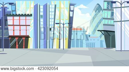 Urban Cityscape With Tall Buildings Vector Illustration. Modern City Street With Office Buildings An