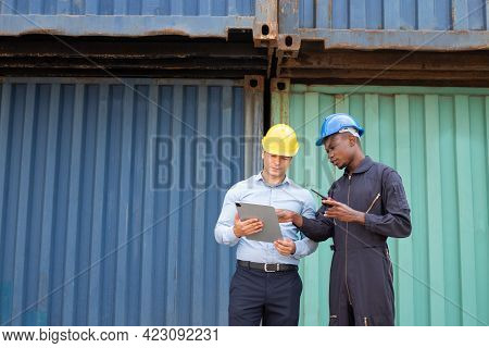 Selective Focus At African Black Worker While Talk And Having Discussion With Supervisor And Inspect