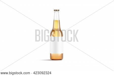 Blank Transparent Glass Beer Bottle With White Label Mockup, Isolated, 3d Rendering. Empty Flask Wit
