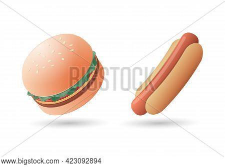 Hamburger, Cheeseburger Sandwich And Hotdog. Colored Vector Illustration. Isolated On White Backgrou