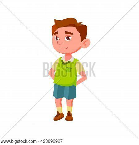 Pretty Boy Kid Wait Ice Cream In Cafeteria Cartoon Vector. Pretty Boy Kid Wait Ice Cream In Cafeteri