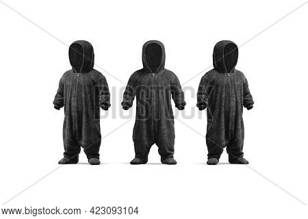 Blank Black Kid Plush Jumpsuit Hood Mockup, Front Side View, 3d Redering. Empty Jammies Pajamas For