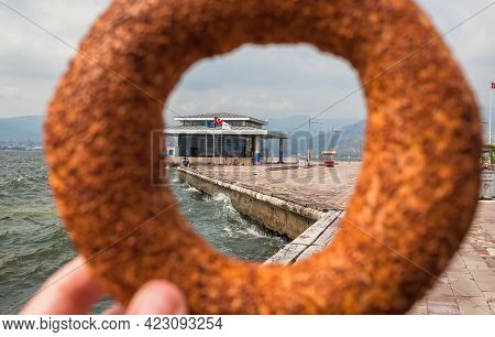 Izmir, Turkey: Popular Turkish Bread, Simit For A Quick Bite By The Waterfront With A Ferry Stop On