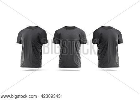 Blank Black Wrinkled T-shirt Mock Up, Front And Side View, 3d Rendering. Empty Everyday Basic Wear M