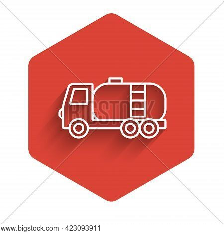 White Line Tanker Truck Icon Isolated With Long Shadow Background. Petroleum Tanker, Petrol Truck, C