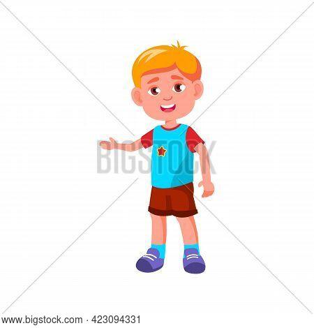 Friendly Boy Welcoming Friends In Children Room Cartoon Vector. Friendly Boy Welcoming Friends In Ch
