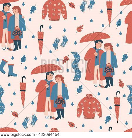 Seamless Pattern With Two Lovers Under Umbrella. Sweet Modern Couple, Rainy Weather. Autumn Cozy Vet