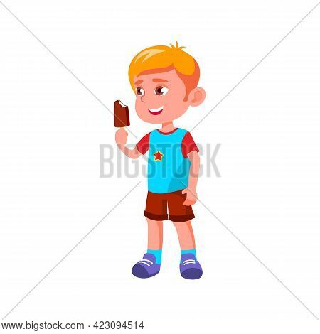 Blond Hair Boy Eating Delicious Ice Cream In Park Cartoon Vector. Blond Hair Boy Eating Delicious Ic