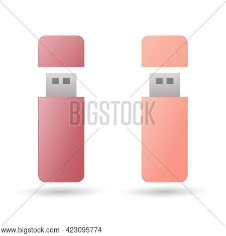 Flash Memory Set. Colored Vector Illustration. Electronic Data Storage Device. Isolated On White Bac