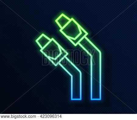 Glowing Neon Line Lan Cable Network Internet Icon Isolated On Blue Background. Vector