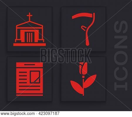 Set Flower Rose, Old Crypt, Scythe And Obituaries Icon. Vector