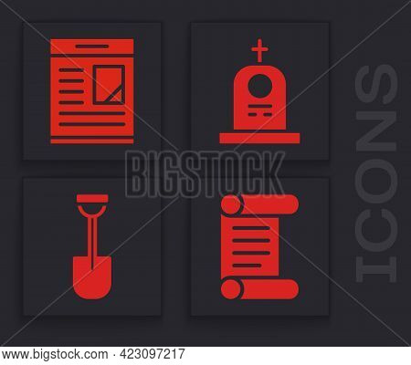 Set Decree, Parchment, Scroll, Obituaries, Grave With Tombstone And Shovel Icon. Vector
