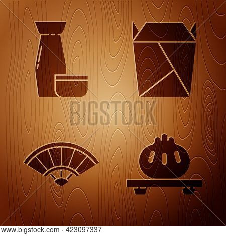Set Dumpling On Cutting Board, Traditional Japanese Tea Ceremony, Paper Chinese Or Japanese Folding