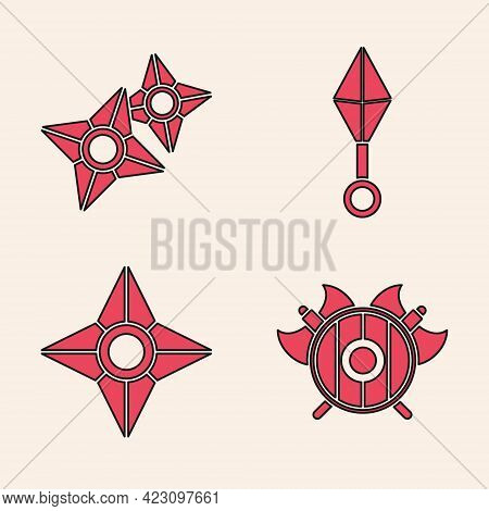 Set Medieval Shield With Crossed Axes, Japanese Ninja Shuriken, Japanese Ninja Shuriken And Japanese