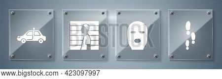 Set Footsteps, Thief Mask, Suspect Criminal And Police Car And Flasher. Square Glass Panels. Vector