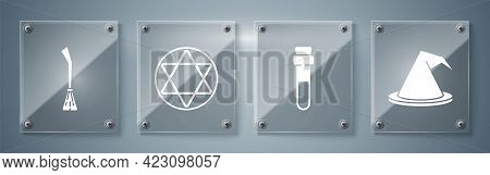 Set Witch Hat, Bottle With Love Potion, Star Of David And Witches Broom. Square Glass Panels. Vector