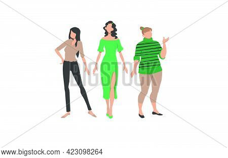 Three Women Representing Different Styles And Body Types. Clothes, Style, Figure. Can Be Used For To