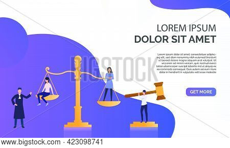 Federal Law Presentation  Illustration.girls Standing On Scales, Federal Judge Watching On Them. Law