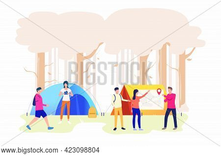Hikers Friends Talking And Examining Map Vector Illustration. Orienteering, Camping, Travel. Tourism
