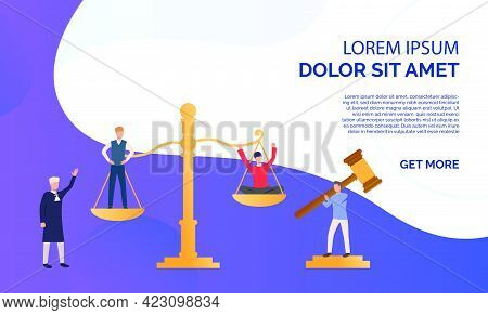 Judgement Of People Presentation  Illustration.people Standing On Scales, Federal Judge Watching On